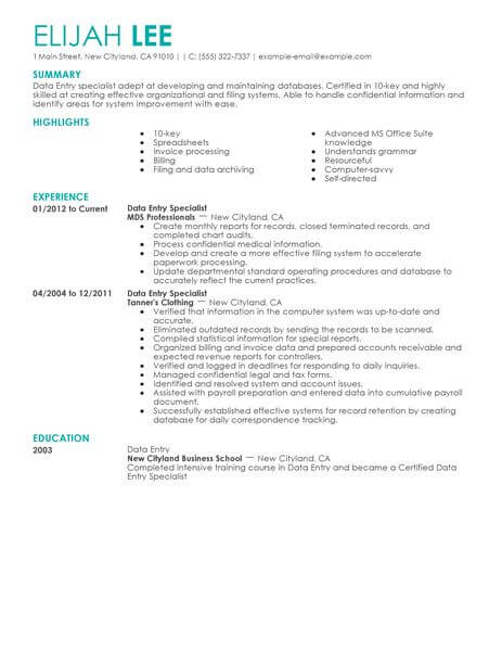 best data entry resume example livecareer objective sample administrative office support Resume Data Entry Objective Resume Sample