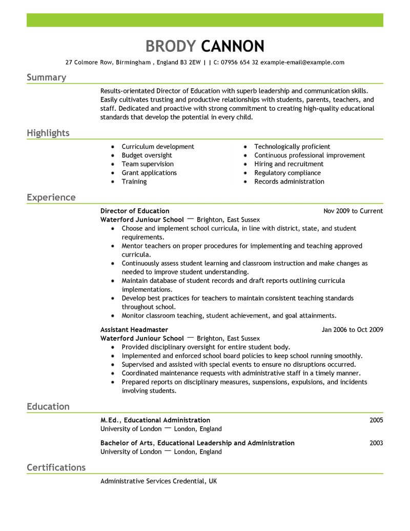 best director resume example livecareer template no college education emphasis air Resume Resume Template No College Education
