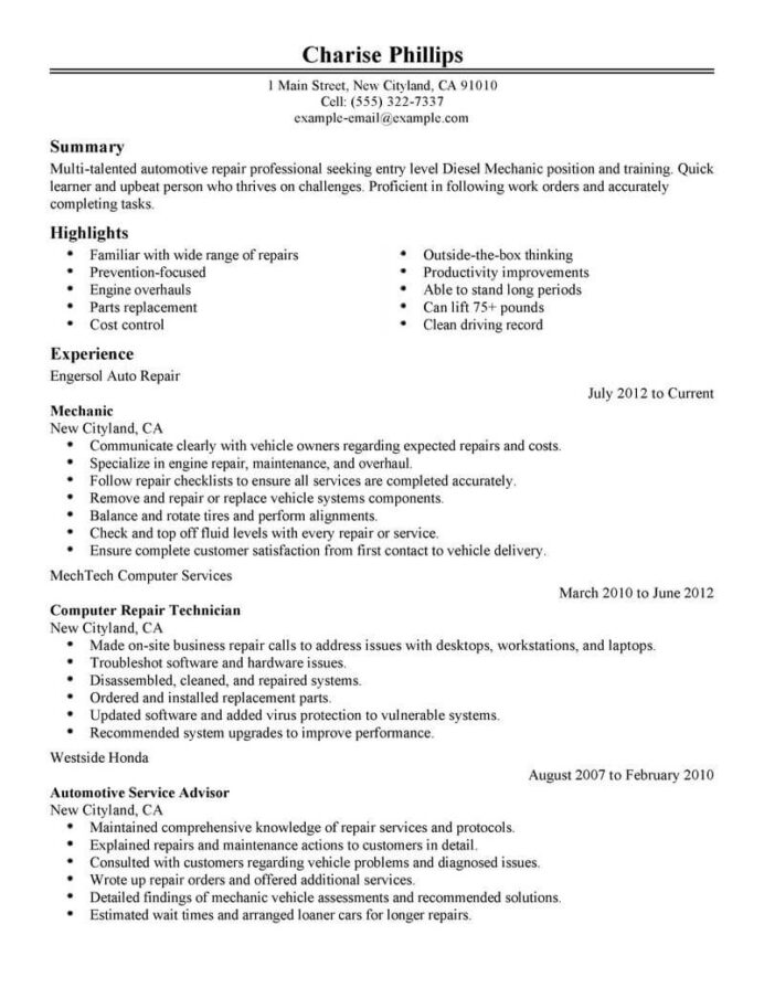 best entry level mechanic resume example livecareer diesel objective installation repair Resume Diesel Mechanic Resume Template