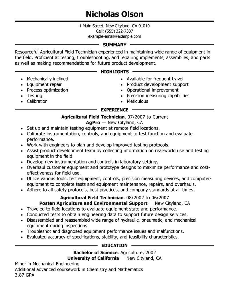 best field technician resume example livecareer senior agriculture environment executive Resume Senior Technician Resume