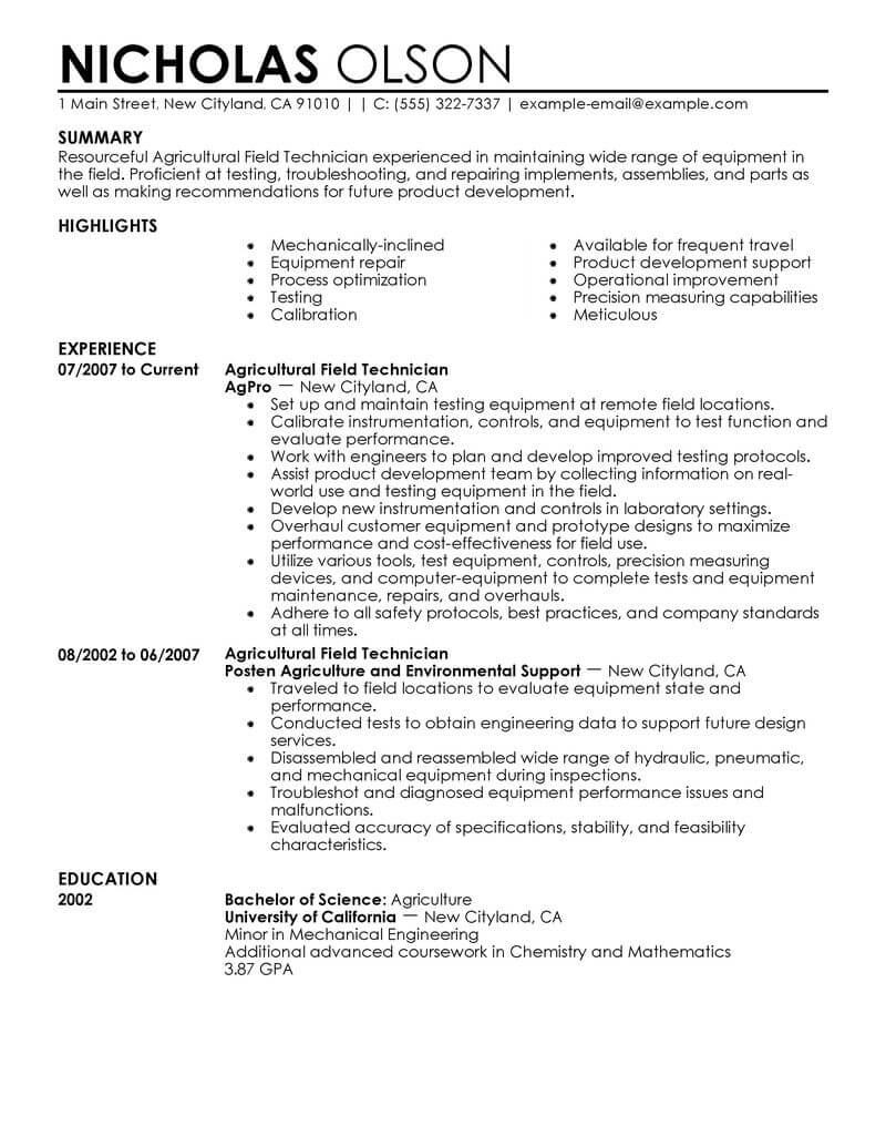 best field technician resume example livecareer senior agriculture environment Resume Senior Technician Resume