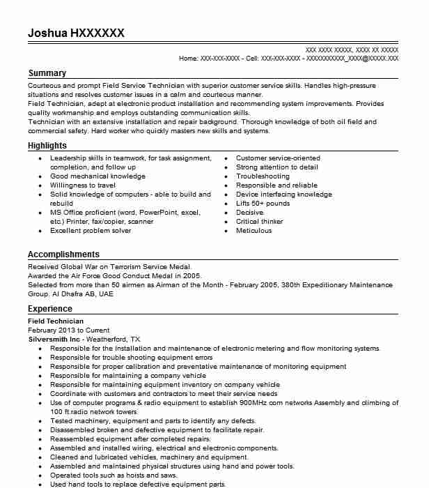 best field technician resume example livecareer service bullet examples levels of Resume Field Service Technician Resume