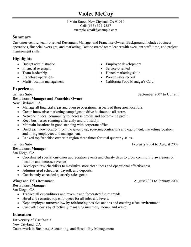 best franchise owner resume example livecareer business examples food restaurant classic Resume Business Owner Resume Examples