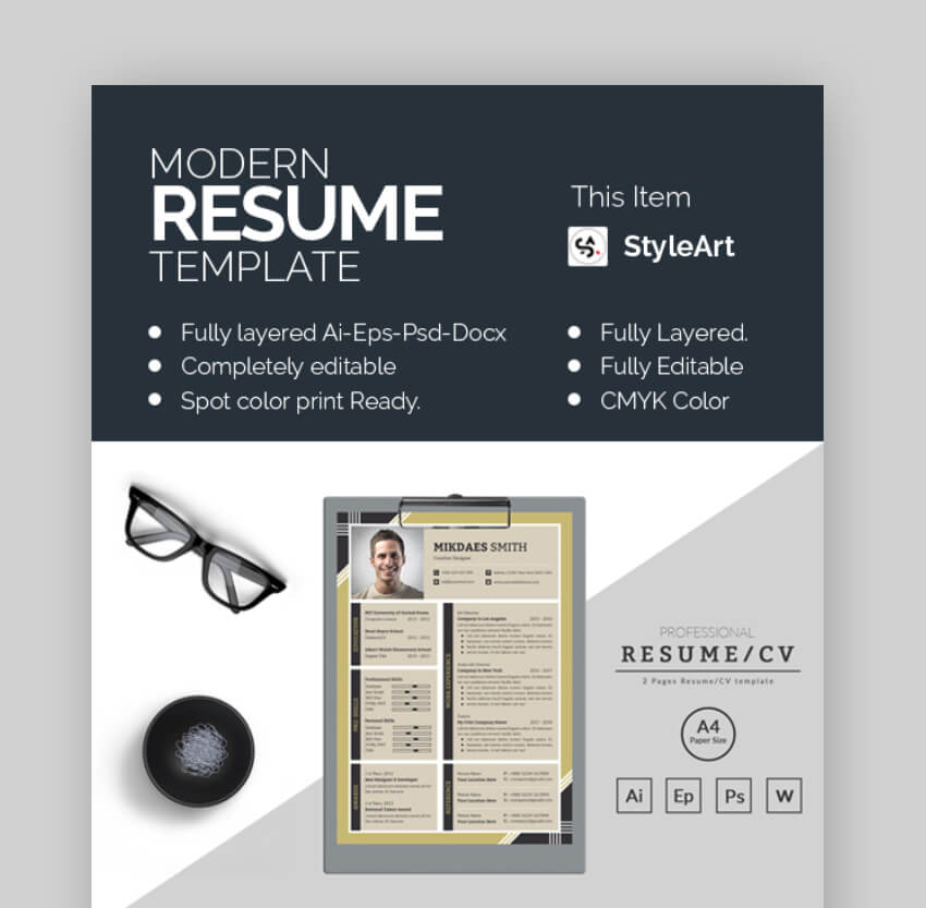 best free modern resume templates clean cv design formats graphicriver qicz6vro inline Resume Free Modern Resume Templates