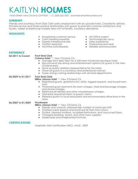 best front desk clerk resume example livecareer examples hotel hospitality contemporary Resume Front Desk Resume Examples