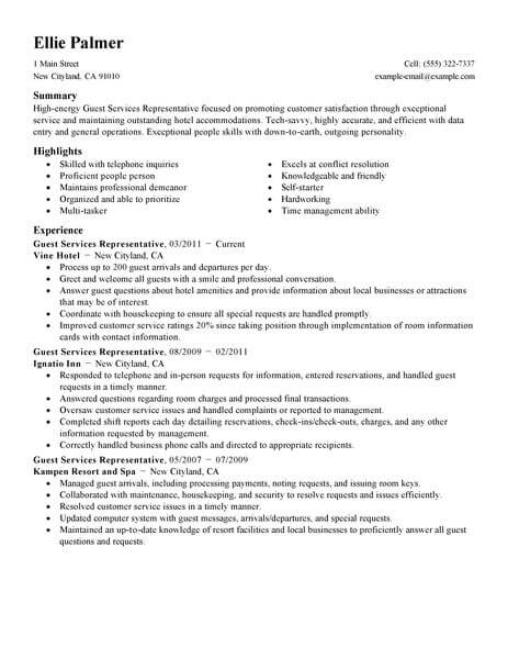 best guest service representative resume example livecareer agent hotel hospitality Resume Guest Service Agent Resume