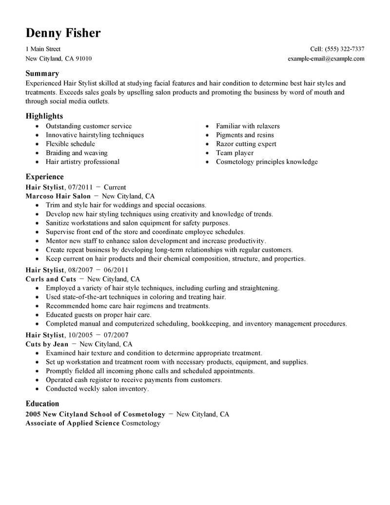 best hair stylist resume example livecareer sample personal care services standard Resume Hair Stylist Resume Sample