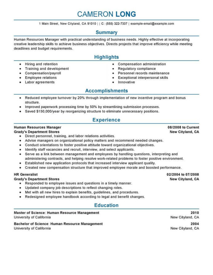 best human resources manager resume example livecareer director sample professional Resume Perfectionist Synonym For Resume