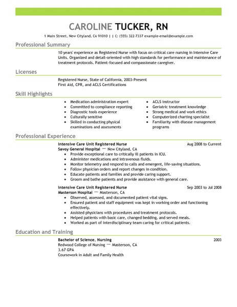best intensive care unit registered nurse resume example livecareer examples healthcare Resume Registered Nurse Resume Examples