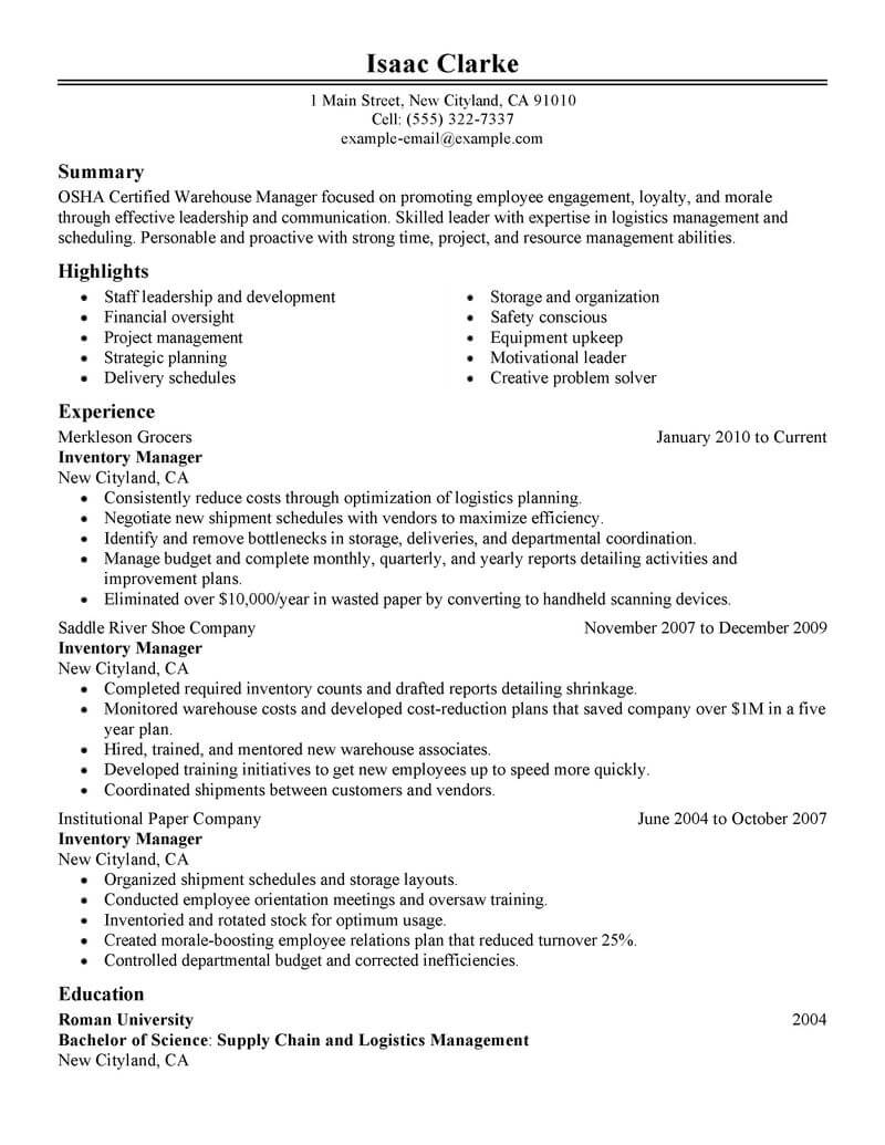 best inventory manager resume example from professional writing service buyer Resume Inventory Manager Resume