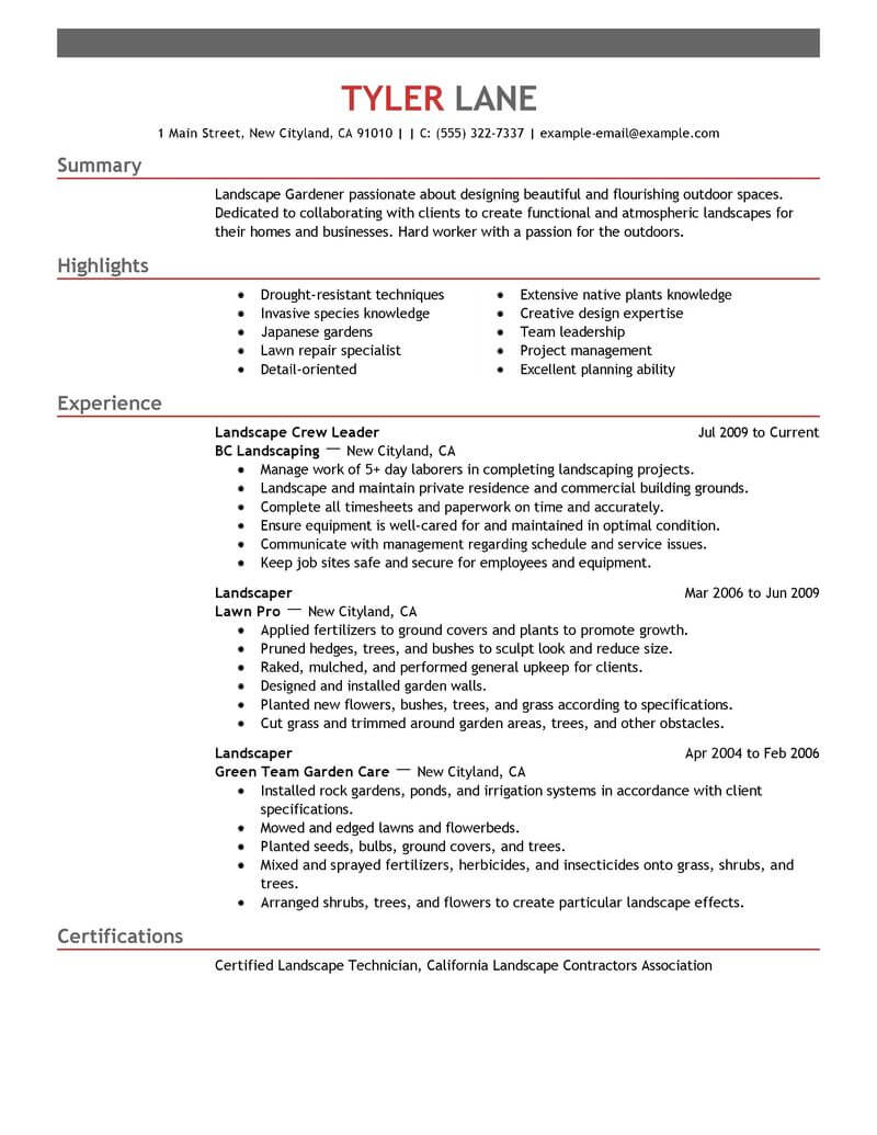 best landscaping resume example livecareer career aspirations examples agriculture Resume Career Aspirations Examples Resume