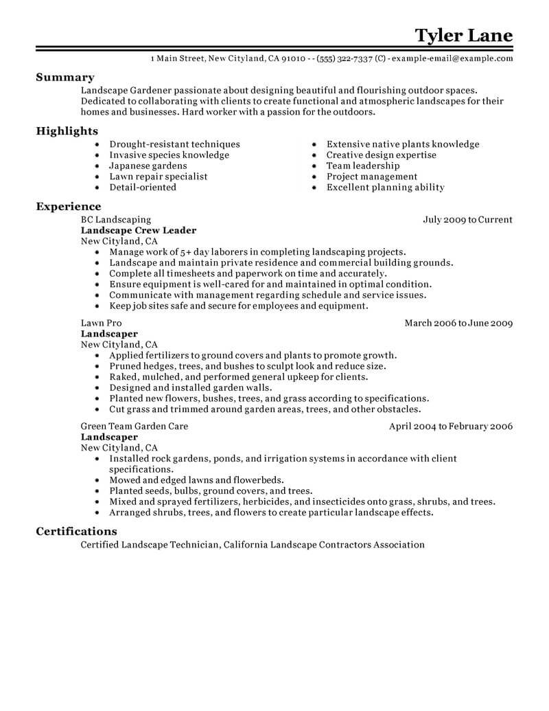 best landscaping resume example livecareer lawn care specialist agriculture environment Resume Lawn Care Specialist Resume