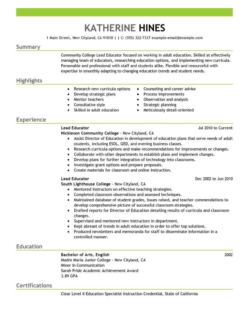 best lead educator resume example livecareer education portion of emphasis styles for Resume Education Portion Of Resume