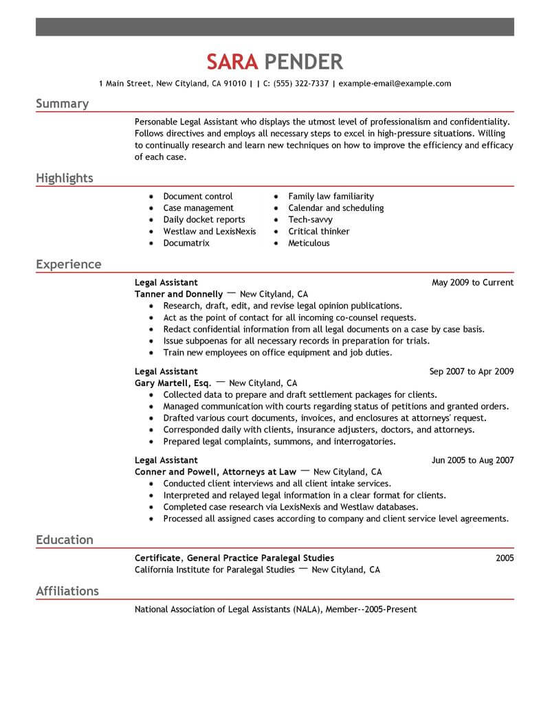 best legal assistant resume example livecareer paralegal skills emphasis of for Resume Paralegal Skills Resume
