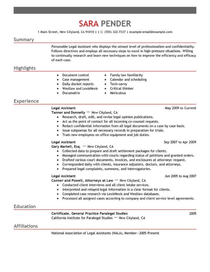best legal assistant resume example livecareer sample for paralegal emphasis free verb Resume Telephone Surveyor Resume