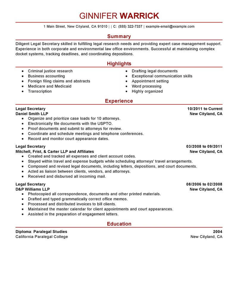 best legal secretary resume example livecareer company profile modern financial analyst Resume Company Secretary Profile Resume