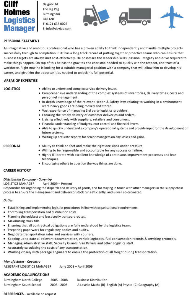 best logistics manager resume templates word examples cv template sample for experienced Resume Logistics Resume Examples