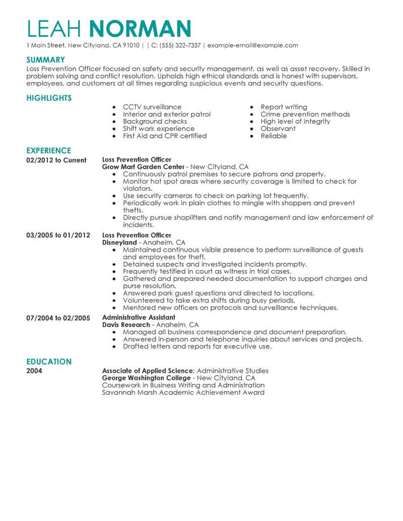 best loss prevention officer resume example livecareer achievements examples emergency Resume Resume Achievements Examples