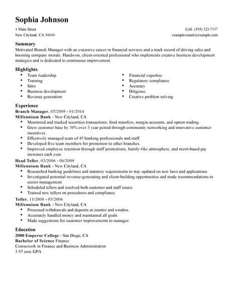 best manager resume example livecareer objective for accounting finance standard 463x600 Resume Branch Manager Objective For A Resume