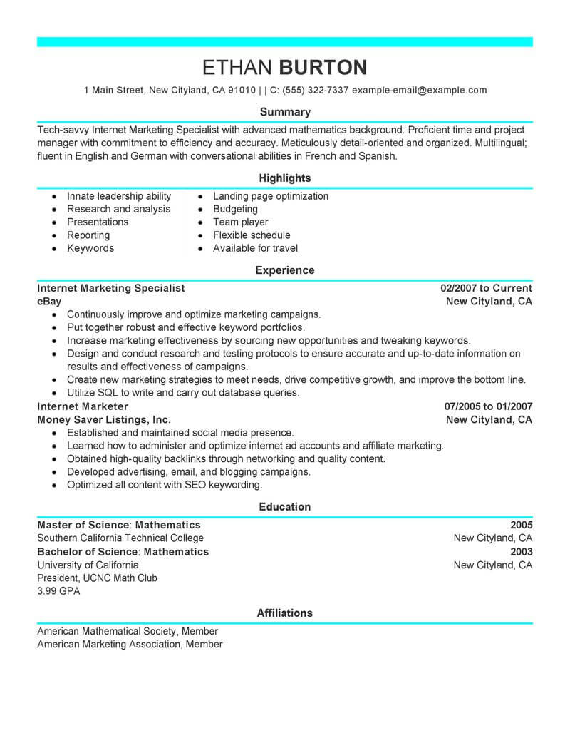 best marketer and social media resume example from professional writing service internet Resume Internet Marketing Resume