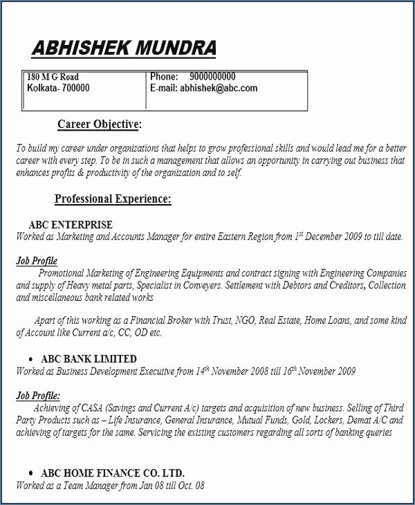best of collection sample resume for warranty manager objective examples job format cv Resume Collection Resume Format