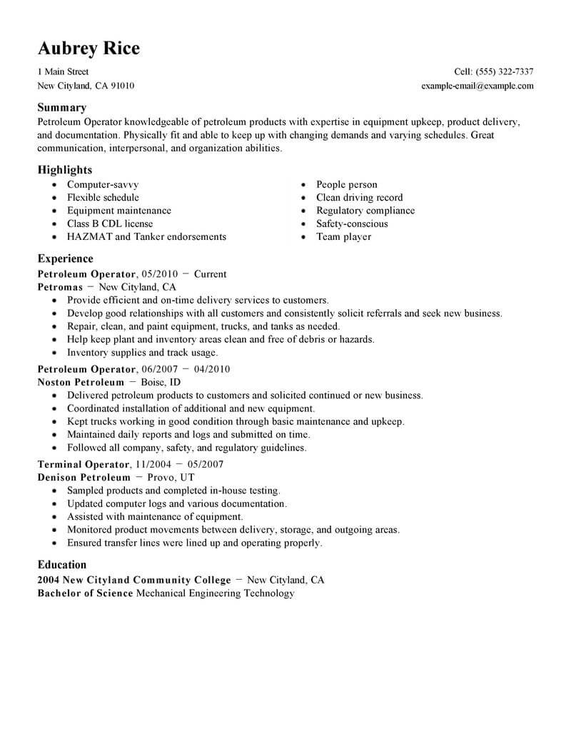 best operator resume example livecareer oil gas samples agriculture environment standard Resume Oil & Gas Resume Samples