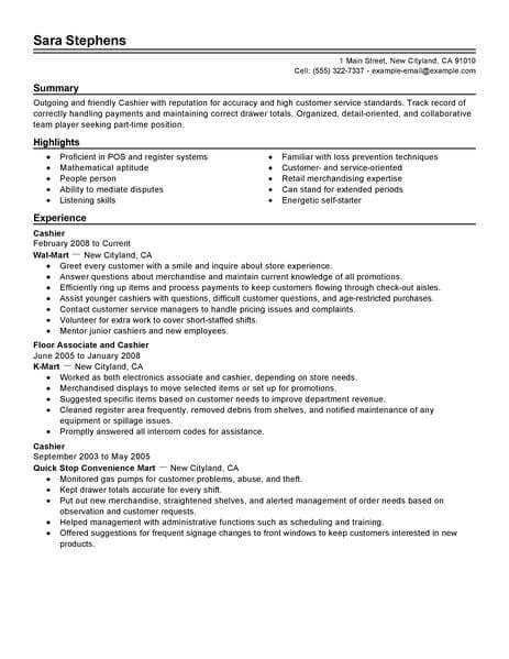best part time cashier resume example livecareer job template cashiers retail traditional Resume Part Time Job Resume Template