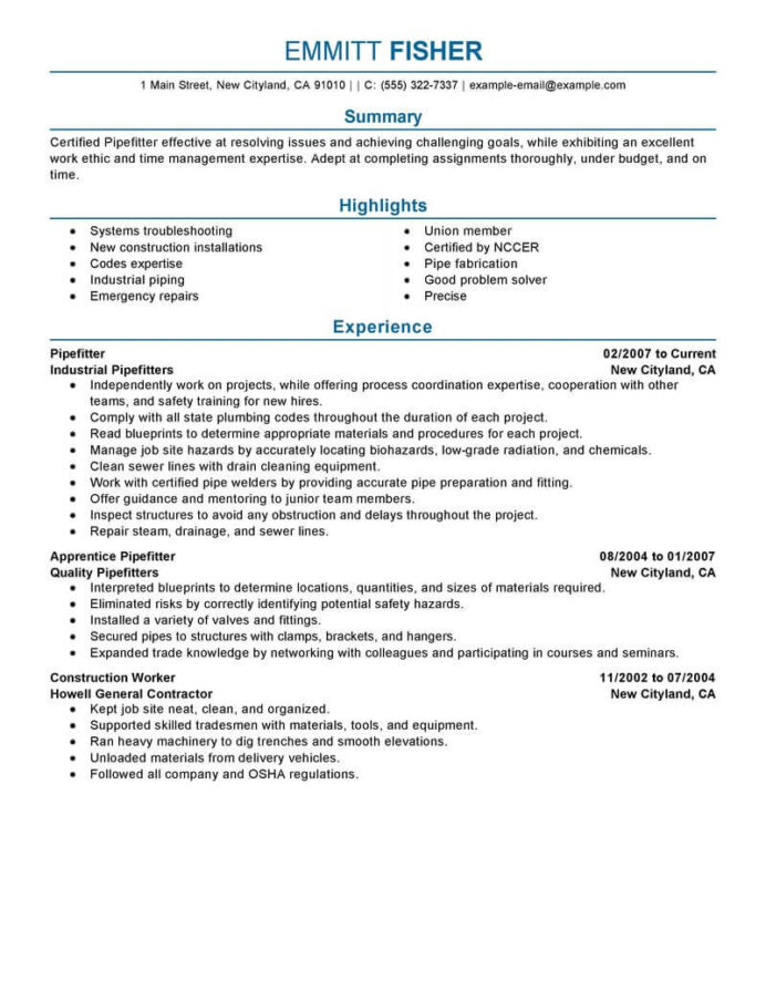 best pipefitter resume example livecareer construction professional logo examples free Resume Fabrication Fitter Resume
