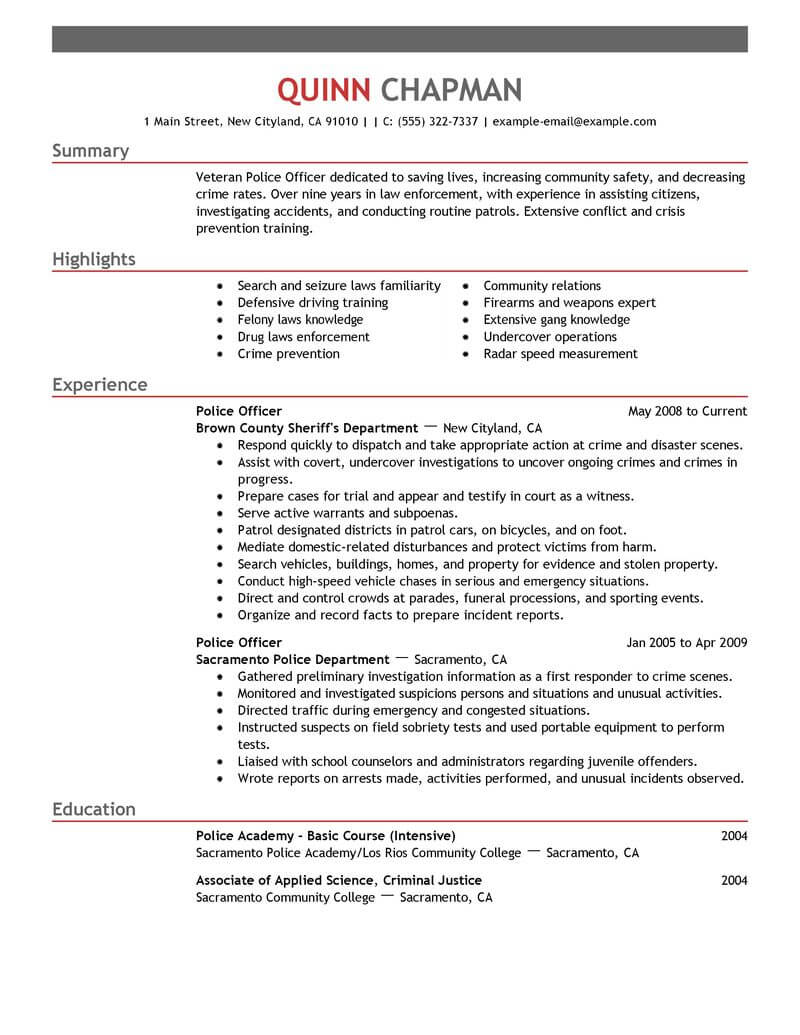 best police officer resume example livecareer examples emergency services emphasis risk Resume Police Officer Resume Examples