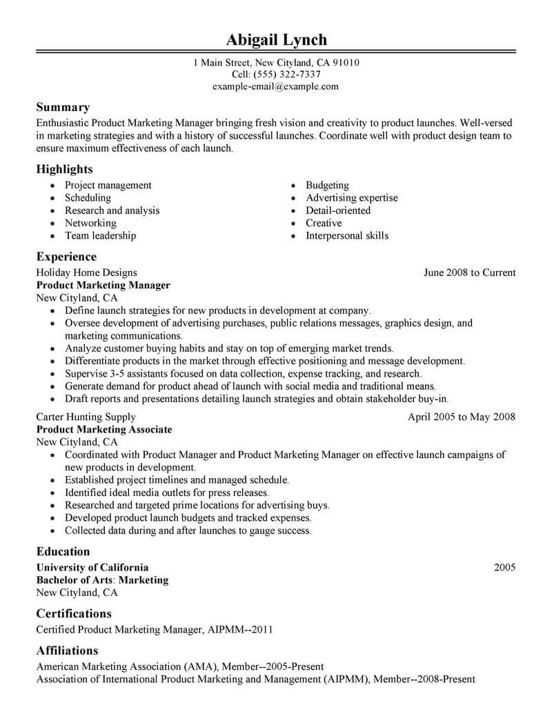 best product marketer resume example livecareer content marketing sample classic aws Resume Content Marketing Resume Sample