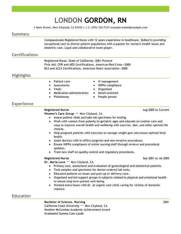 best registered nurse resume example for myperfectresume recipe nursing template examples Resume Experienced Registered Nurse Resume