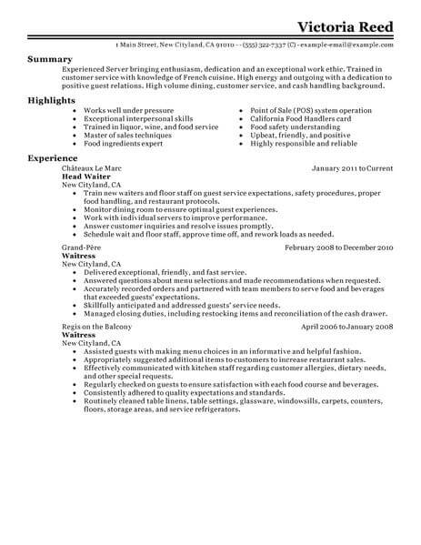 best server resume example livecareer summary examples for food restaurant classic Resume Resume Summary Examples For Server