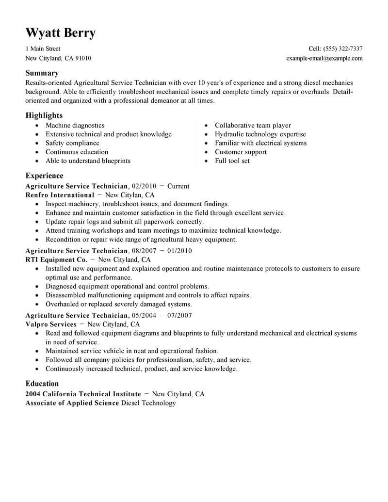 best service technician resume example livecareer field agriculture environment standard Resume Field Service Technician Resume