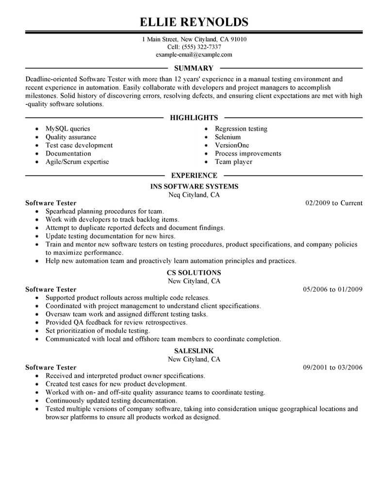 best software testing resume example livecareer tester sample it executive salon stylist Resume Software Tester Resume Sample
