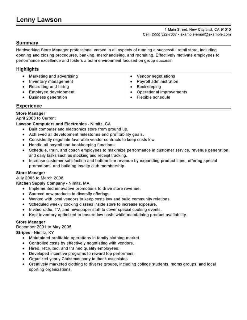 best store manager resume example livecareer retail management experience traditional Resume Retail Management Experience Resume