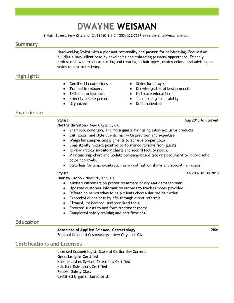 best stylist resume example livecareer hair sample salon spa fitness emphasis template Resume Hair Stylist Resume Sample