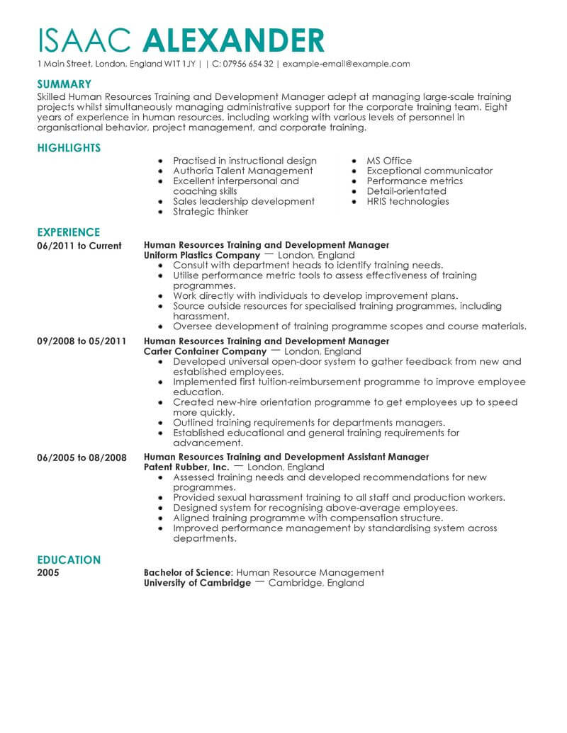 best training and development manager resume example livecareer professional on human Resume Professional Development On Resume