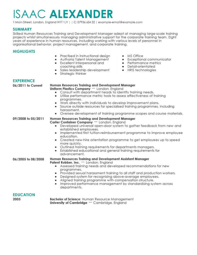 best training and development manager resume example livecareer seminar on writing human Resume Resource Management Resume Example