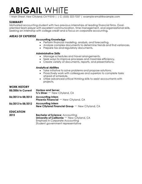 best training internship resume example livecareer college student for credits accounting Resume College Student Resume For Internship
