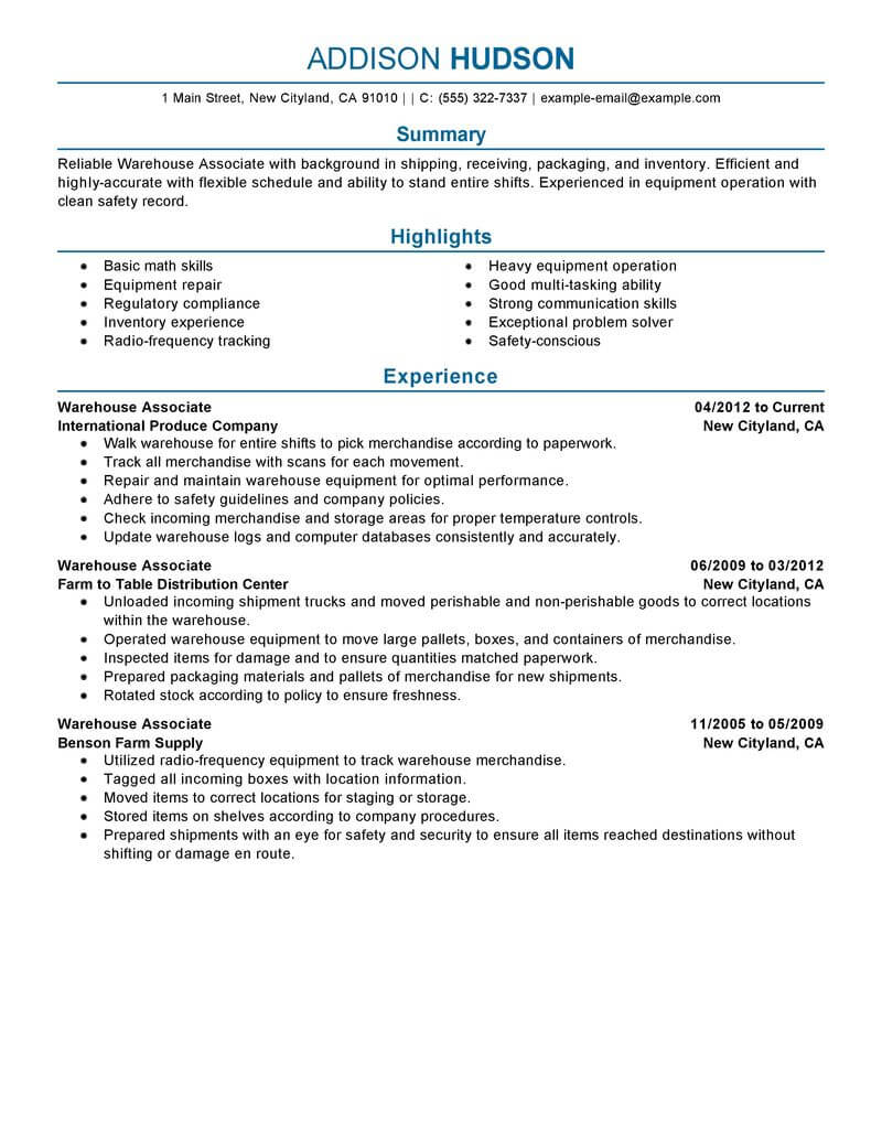 best warehouse associate resume example from professional writing service good for job Resume Good Resume For Warehouse Job