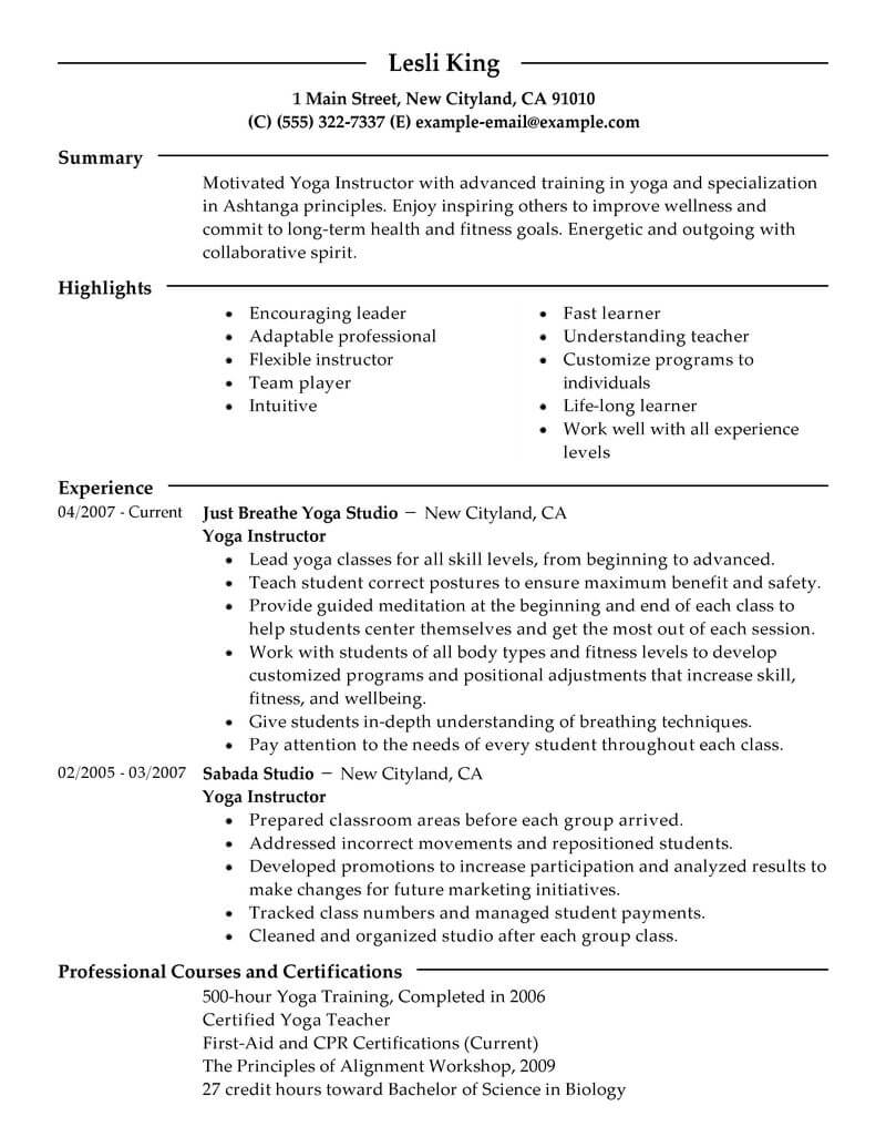 best yoga instructor resume example livecareer template free wellness modern for Resume Yoga Resume Template Free
