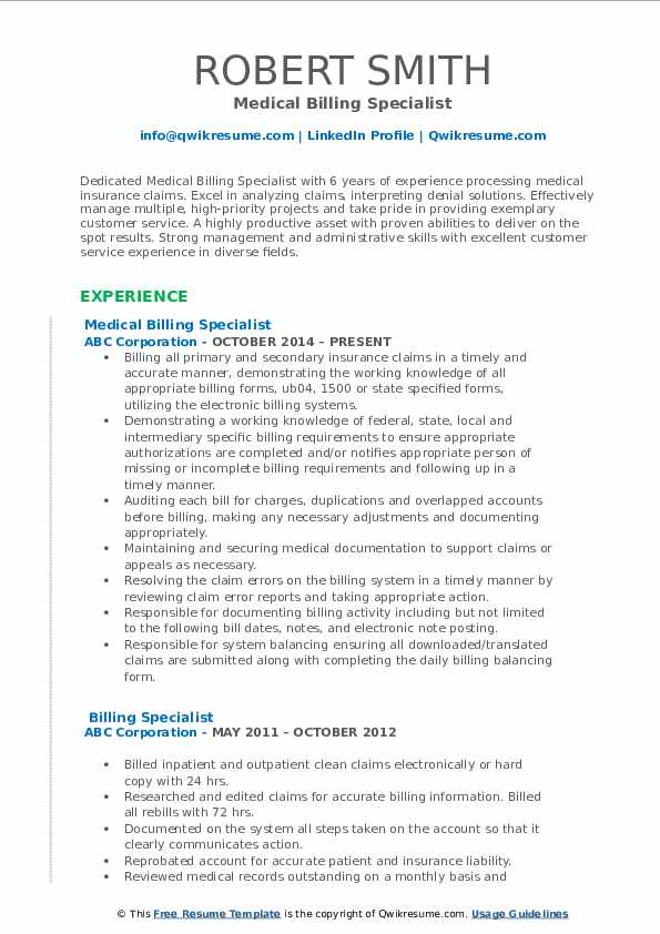 billing specialist resume samples qwikresume medical pdf need made office work microsoft Resume Medical Billing Specialist Resume