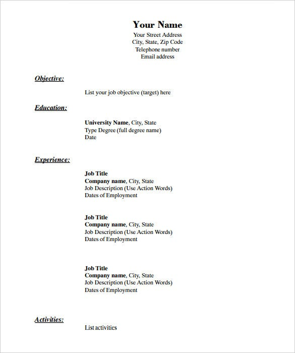 blank resume templates pdf free premium basic template chronological format in cnc Resume Free Basic Blank Resume Template