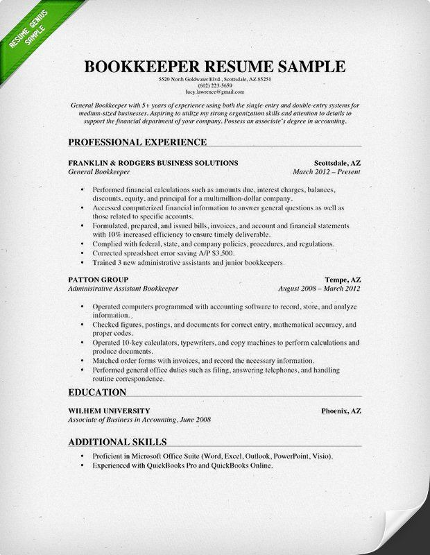 bookkeeper resume sample guide genius examples job description of duties for gas station Resume Description Of Bookkeeper Duties For Resume