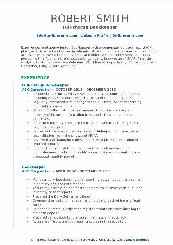 bookkeeper resume samples qwikresume description of duties for pdf writing services Resume Description Of Bookkeeper Duties For Resume