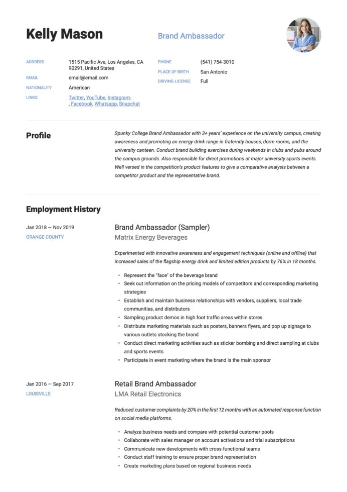 brand ambassador resume example design free examples hvac objective statement best Resume Brand Ambassador Resume