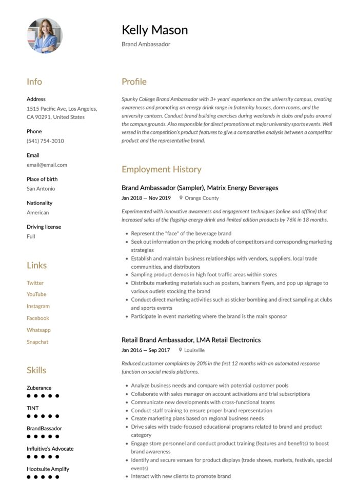 brand ambassador resume writing guide templates meat department veterinarian system admin Resume Brand Ambassador Resume