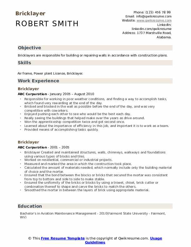 bricklayer resume samples qwikresume sample pdf synonym for experience college Resume Bricklayer Resume Sample