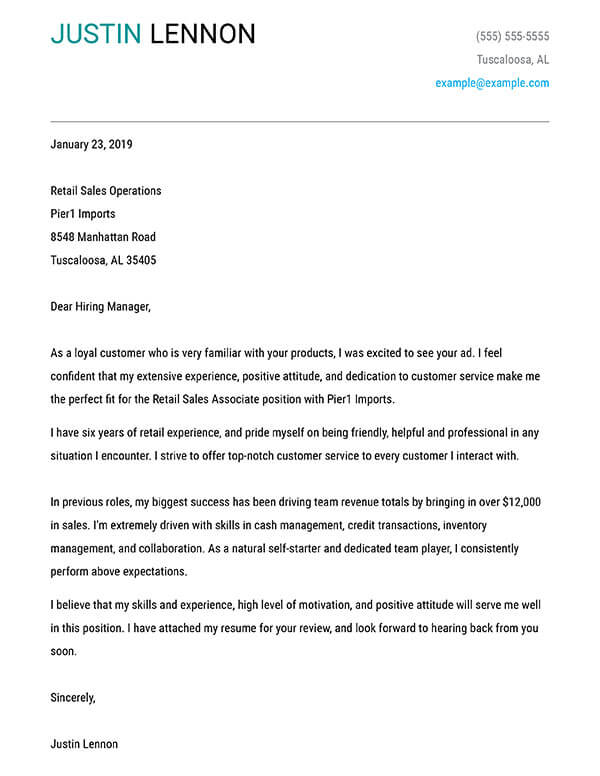 build your cover letter examples myperfectcoverletter creating for resume bold retail Resume Creating A Cover Letter For Resume