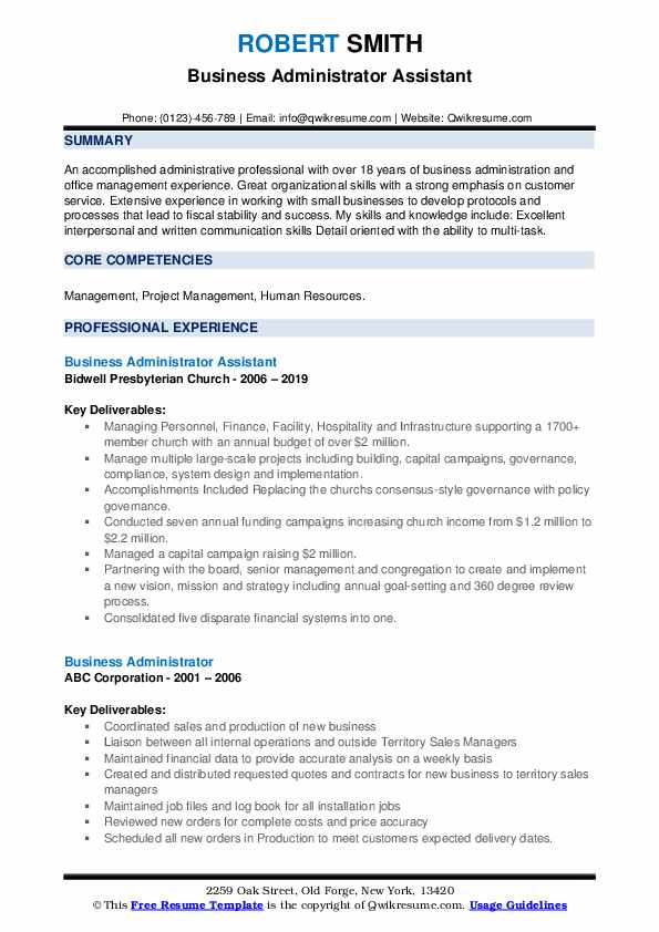 business administrator resume samples qwikresume bachelor of administration sample pdf Resume Bachelor Of Business Administration Resume Sample